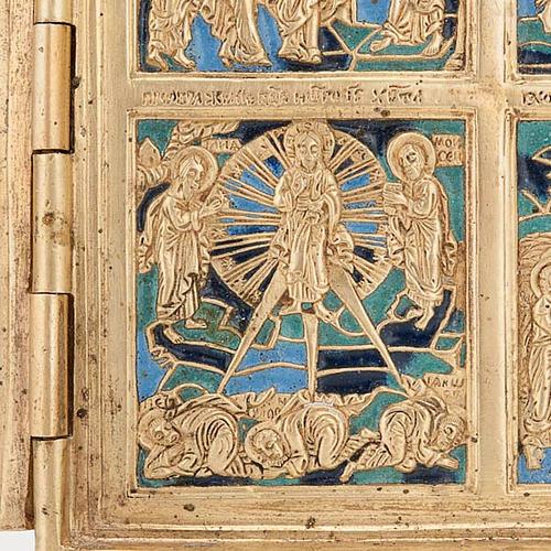 Icona quadripartita da viaggio antica bronzo XIX secolo 5