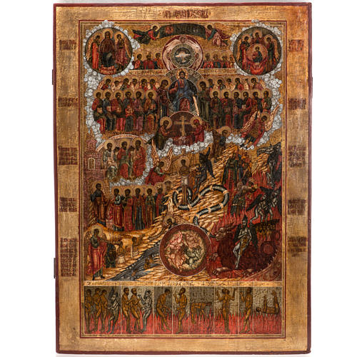 Old Russian Icon Last Judgment, 19th century 1