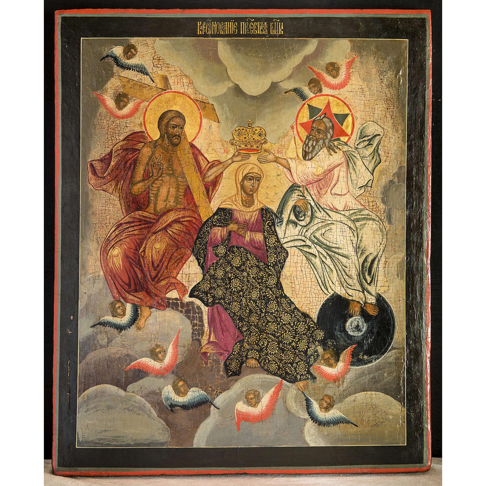 Icone Russe ancienne Couronnement de la Mère de Dieu 4