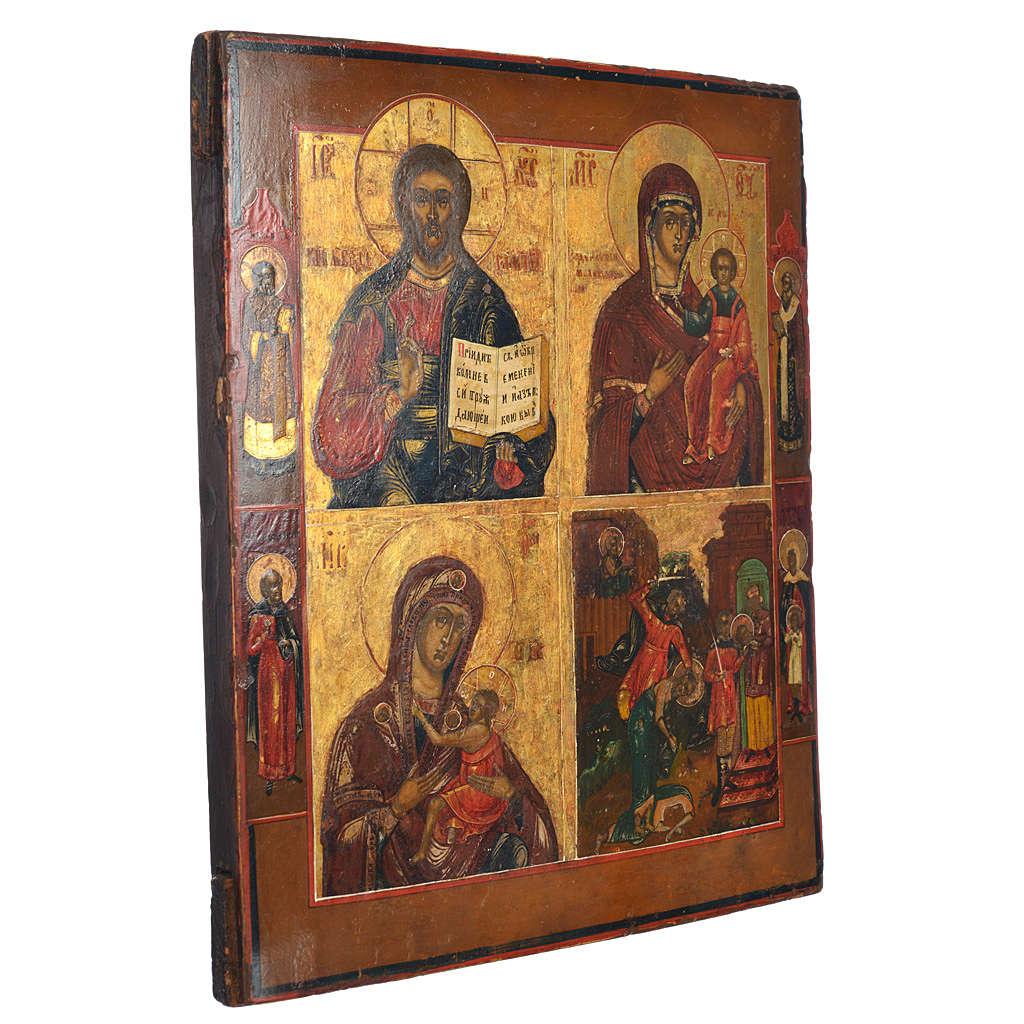Icono Ruso antiguo Cuatros Imágenes XIX siglo 4
