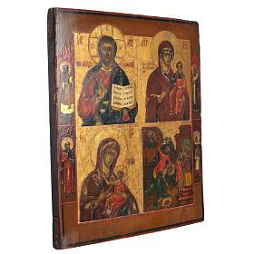 Icono Ruso antiguo Cuatros Imágenes XIX siglo s2