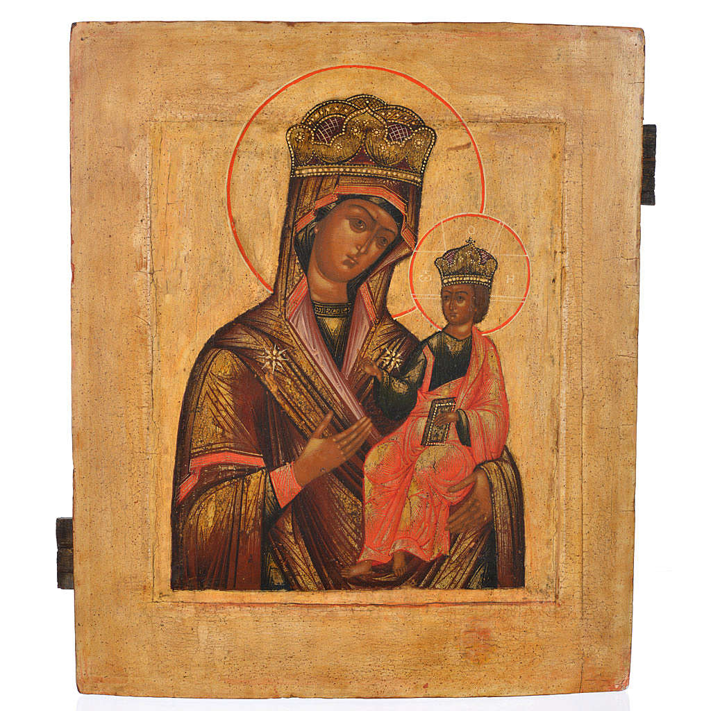 Icona russa antica Madonna Odighitria XVIII secolo 4