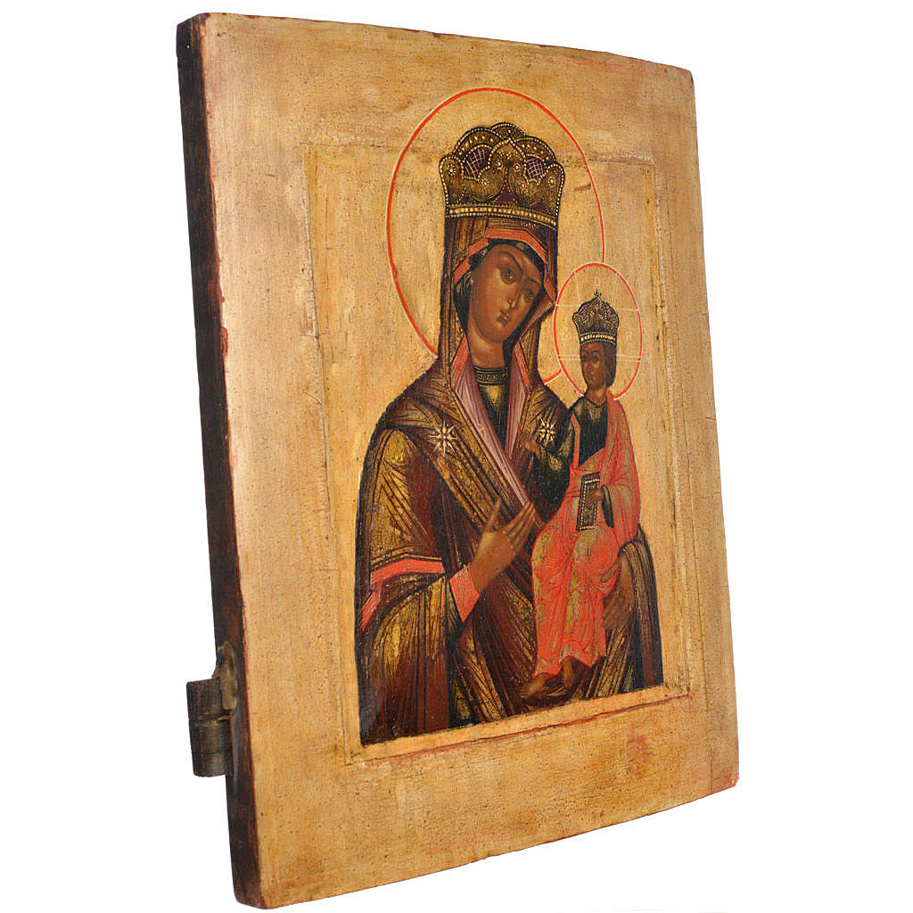 Antique Russian icon, Our Lady Odighitra XVIII century 4