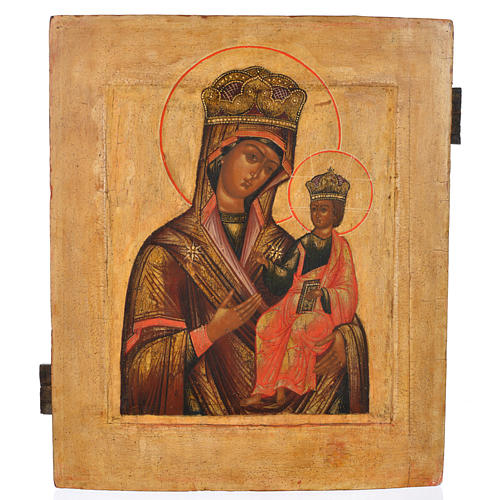 Antique Russian icon, Our Lady Odighitra XVIII century 1