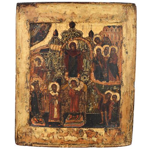 Icona russa antica Pokrov XVII secolo 1