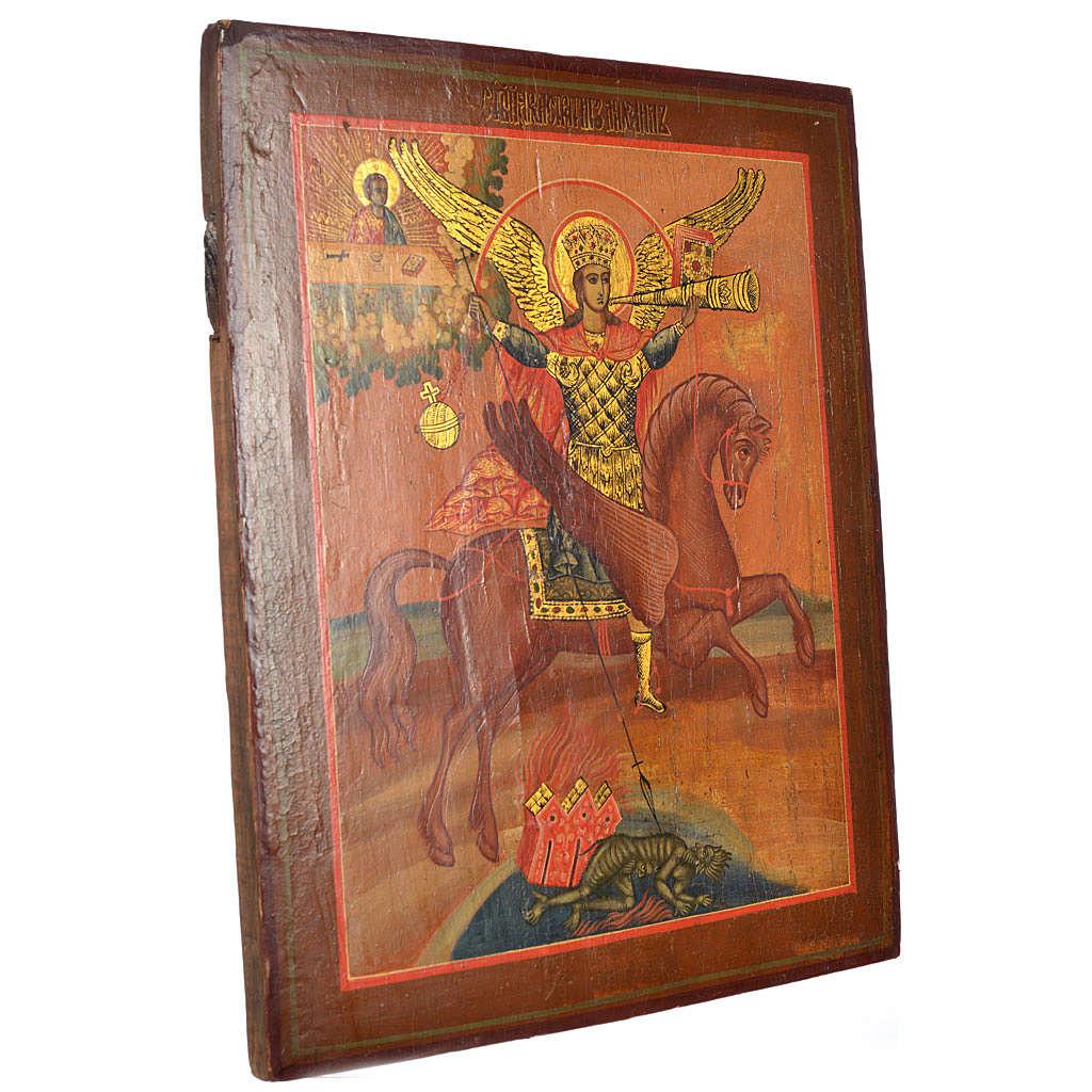 Icona russa antica S. Michele Arcangelo XIX secolo 4