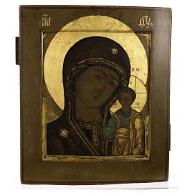 Icona russa antica Madonna Kazan XIX secolo s4