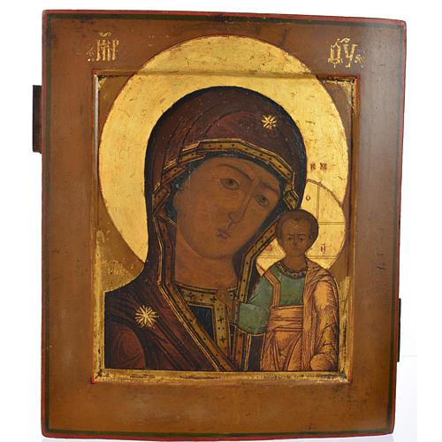 Icona russa antica Madonna Kazan XIX secolo 1