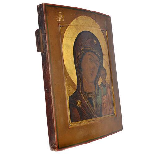 Icona russa antica Madonna Kazan XIX secolo 2