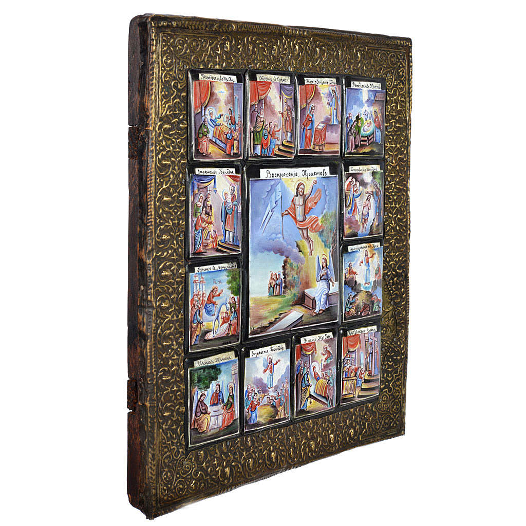 Antique Russian icon 12 Great Feasts with finfit enamel XX century 4