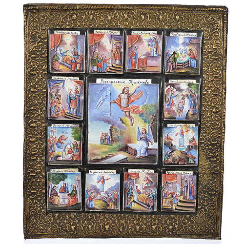 Antique Russian icon 12 Great Feasts with finfit enamel XX century 1