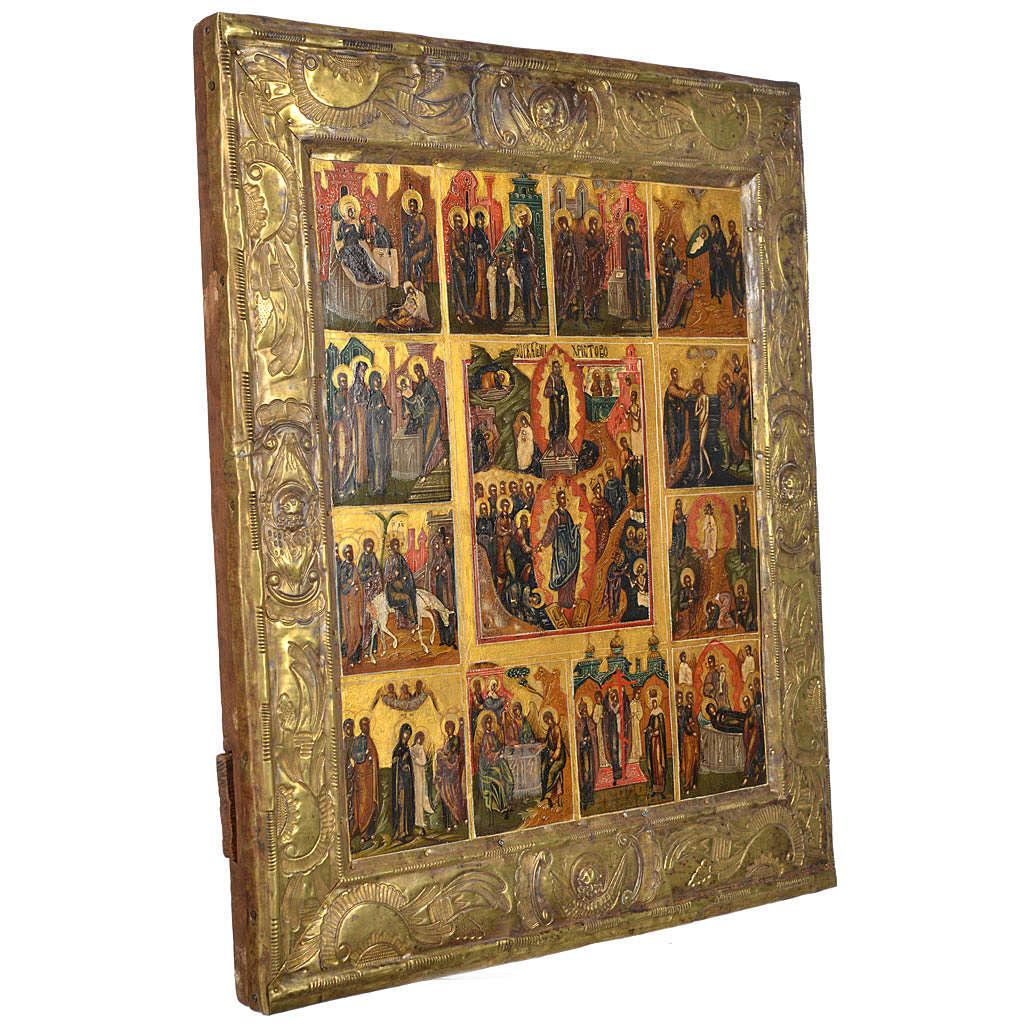 Icône russe ancienne basma 12 fêtes XIX siècle 4