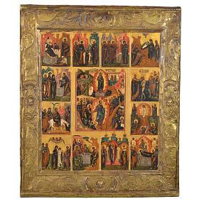 Icône russe ancienne basma 12 fêtes XIX siècle s1