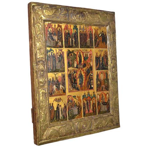 Icona russa antica basma 12 feste XIX secolo 2