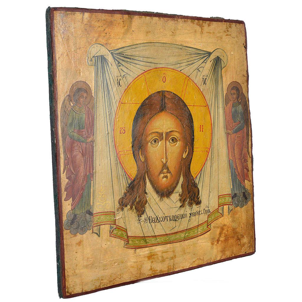 Icône russe ancienne Christ Achéiropoïète 50x45 cm XIX siècle 4