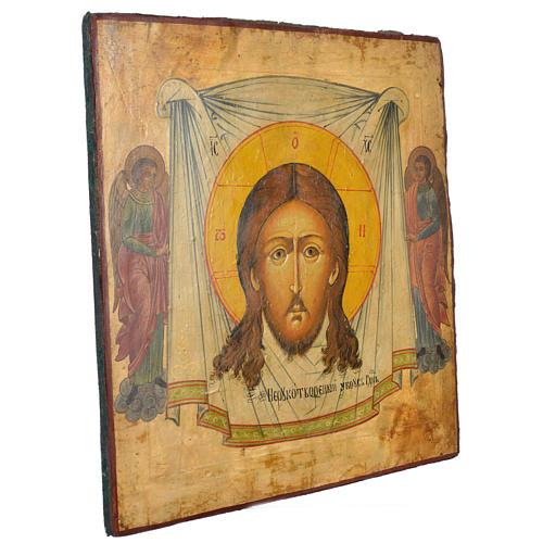Icône russe ancienne Christ Achéiropoïète 50x45 cm XIX siècle 2