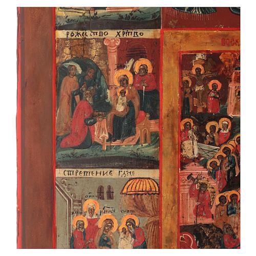 Icône russe ancienne 12 Grandes Fêtes 69x53cm XIX siècle 4