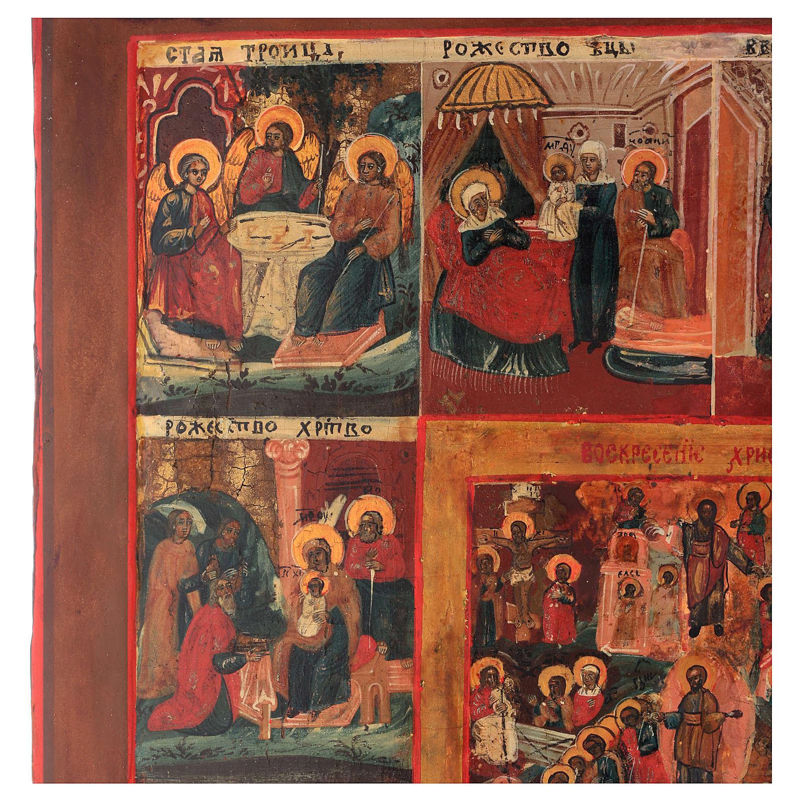 Icona antica russa 12 grandi feste 69x53 cm XIX sec 4
