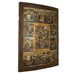 Icona antica russa 12 grandi feste 69x53 cm XIX sec s5