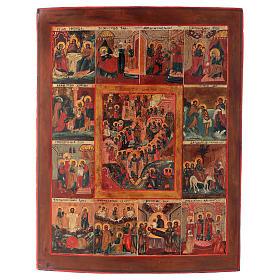 Icona antica russa 12 grandi feste 69x53 cm XIX sec s1