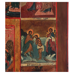 Icona antica russa 12 grandi feste 69x53 cm XIX sec s2