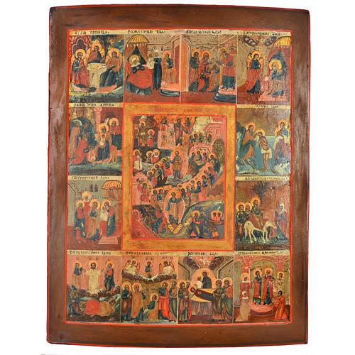 Icona antica russa 12 grandi feste 69x53 cm XIX sec 1