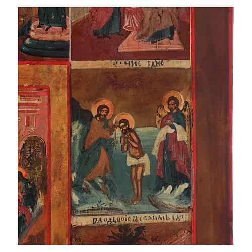 Icona antica russa 12 grandi feste 69x53 cm XIX sec 2