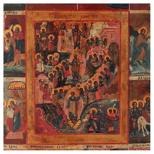 Icona antica russa 12 grandi feste 69x53 cm XIX sec 3