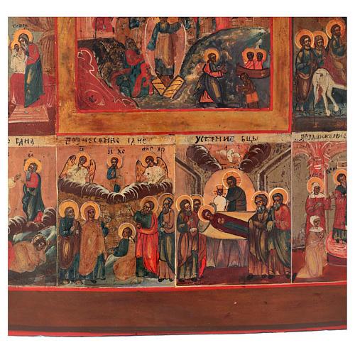 Icona antica russa 12 grandi feste 69x53 cm XIX sec 5