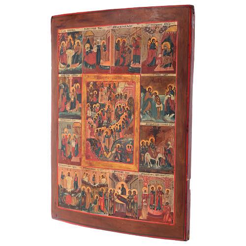 Icona antica russa 12 grandi feste 69x53 cm XIX sec 7
