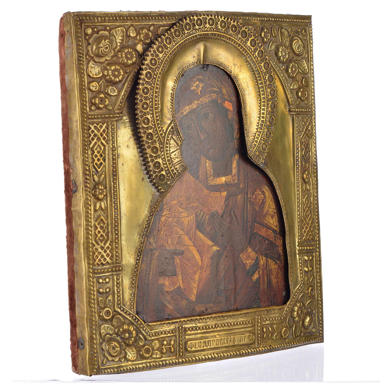 Icona russa antica Madonna Feodorov riza bronzo 4