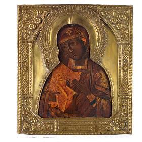 Icona russa antica Madonna Feodorov riza bronzo s1