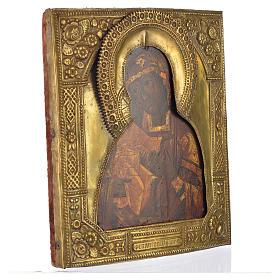 Icona russa antica Madonna Feodorov riza bronzo s2