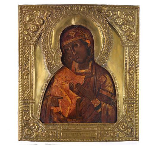 Icona russa antica Madonna Feodorov riza bronzo 1