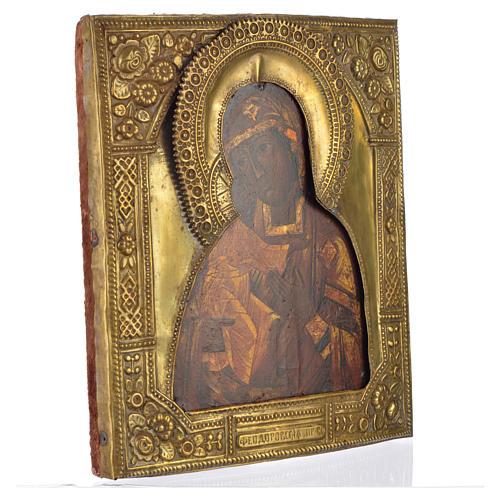 Icona russa antica Madonna Feodorov riza bronzo 2