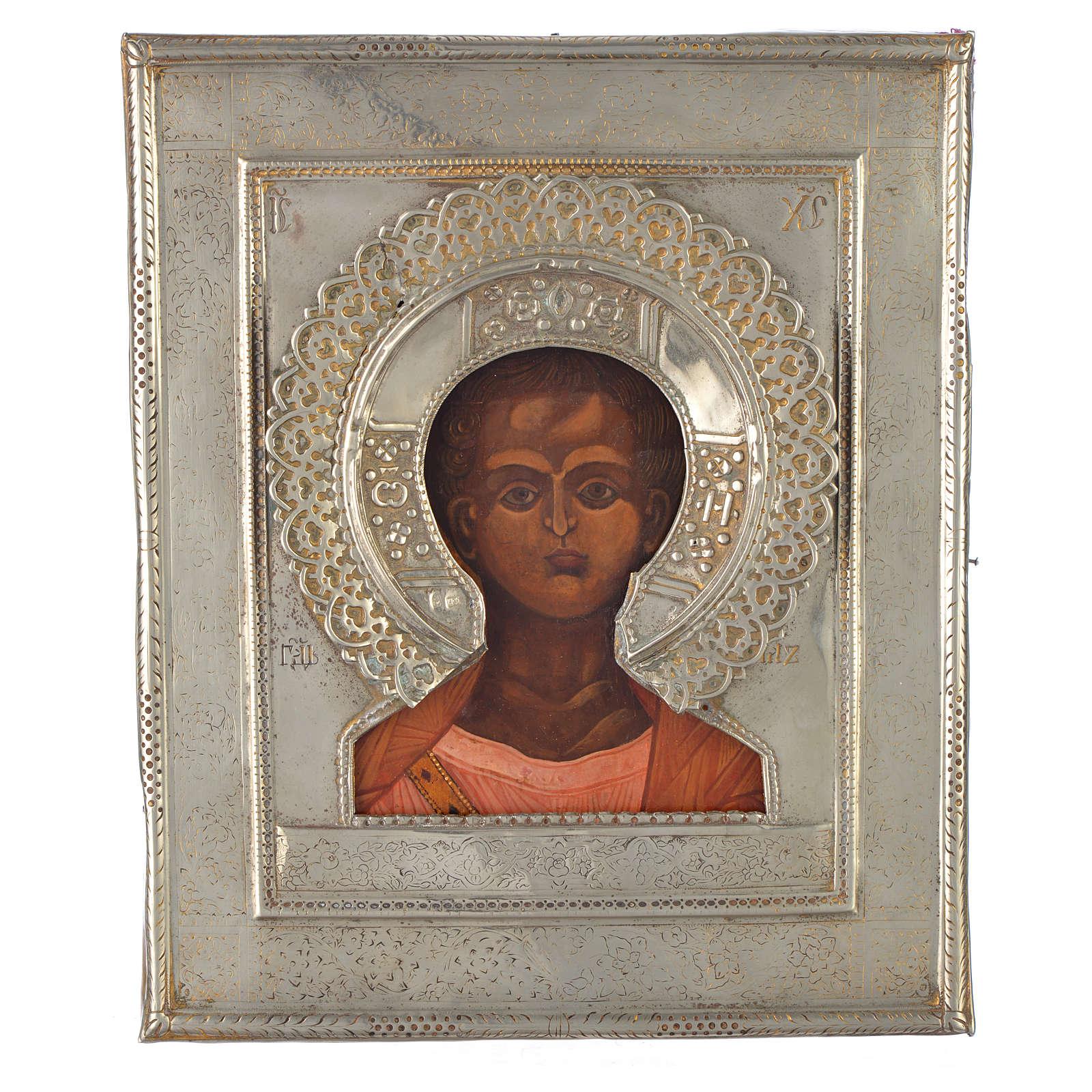 Icono Ruso antiguo Jesucristo Emmanuel 1874 riza de plata 4