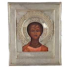 Icono Ruso antiguo Jesucristo Emmanuel 1874 riza de plata s1