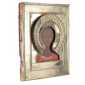 Icono Ruso antiguo Jesucristo Emmanuel 1874 riza de plata s2