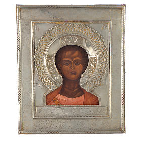 Russian icon Christ Emmanuel 1874, silver riza s1