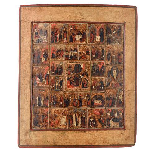 Icona russa antica 16 feste e ciclo della passione XVIII sec 1