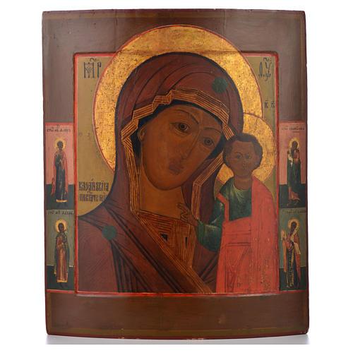 Icono Ruso antiguo Virgen de Kazan mitad del XIX, 53,3 x 46 cm 1