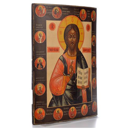 Icono Ruso antiguo Jesús Pantocrator y Santos Elegidos XIX siglo 2