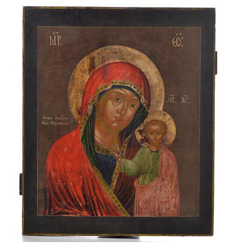 Ícone russo antigo Kazan século 18 1
