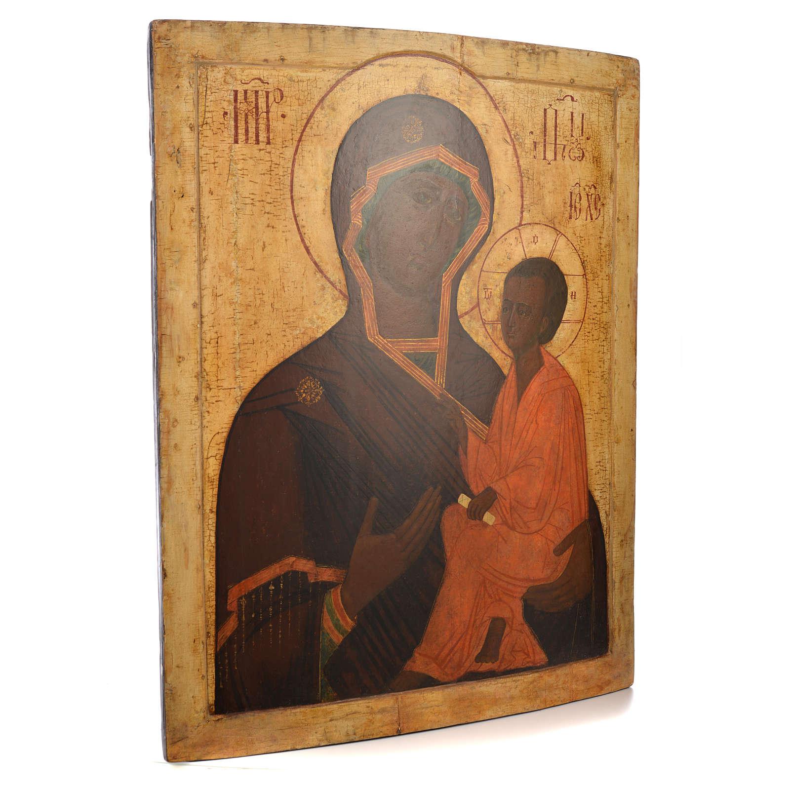 Icona russa antica Madre Dio Tichvin XVII sec 4