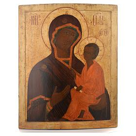 Icona russa antica Madre Dio Tichvin XVII sec s1