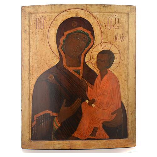 Icona russa antica Madre Dio Tichvin XVII sec 1