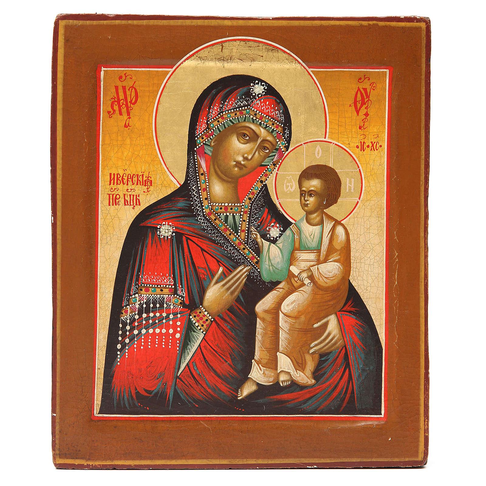 Icona antica russa Madonna Iverskaya XIX sec. Restaurata 4