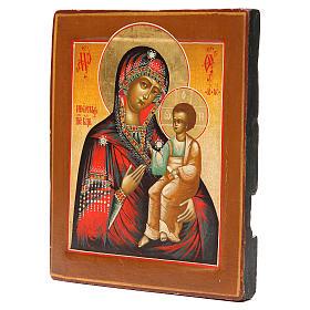 Icona antica russa Madonna Iverskaya XIX sec. Restaurata s2