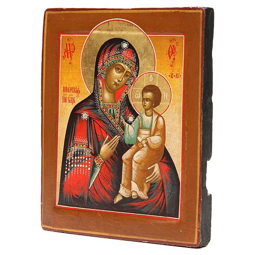 Icona antica russa Madonna Iverskaya XIX sec. Restaurata 2