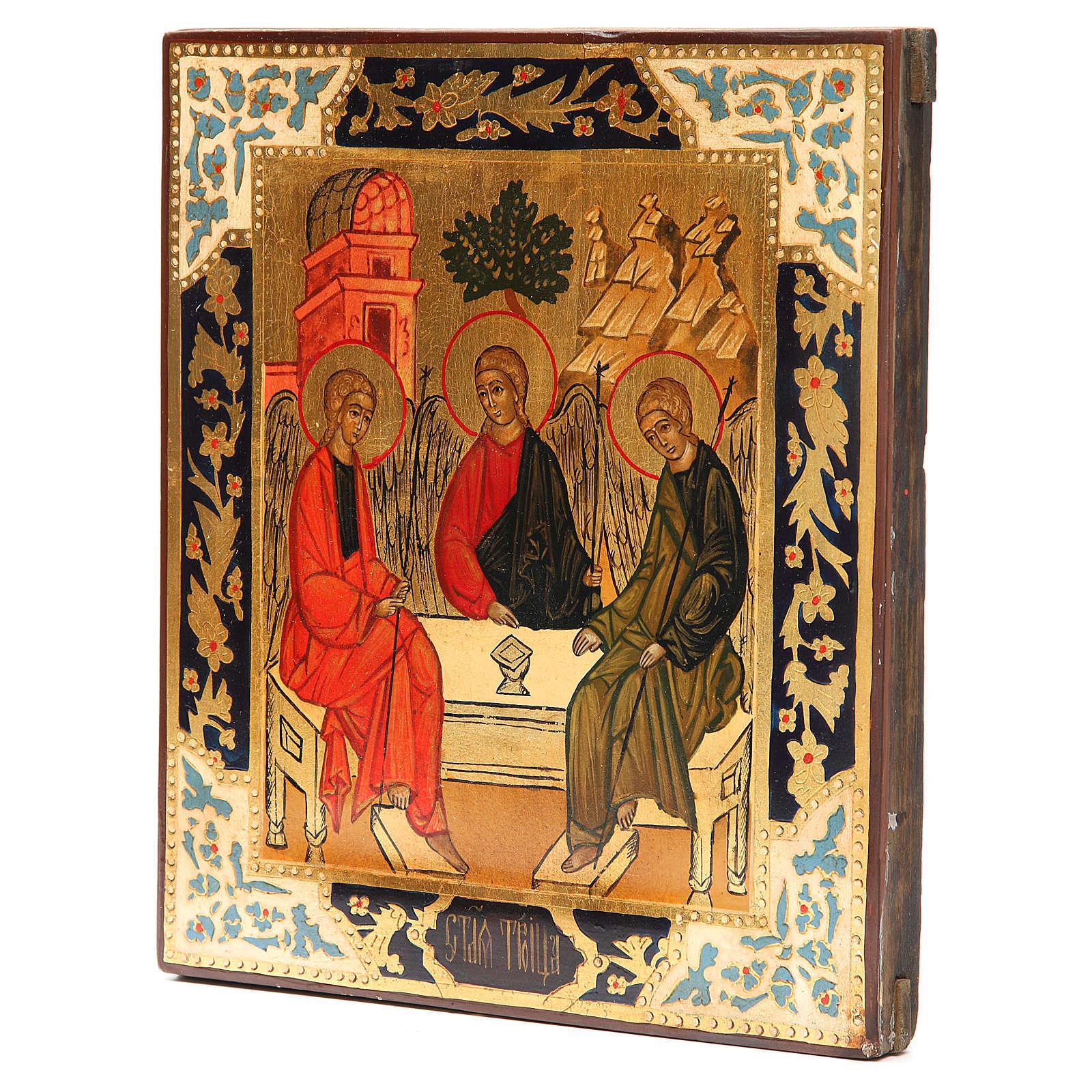 Icona russa antica Santa Trinità XX secolo Restaurata 4